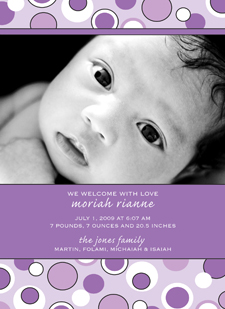 Moriah Front Baby Announcements